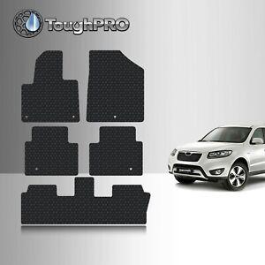 ToughPRO Floor Mats + 3rd Row Black For Hyundai Santa Fe All Weather 2013-2018