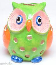 Windlicht Teelicht Kerzenhalter Zwei Eule Ggrün und orange Porzellan 16cm