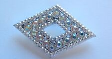 Fashion Pin/Broach- Diamond Shape -clear sparkly stones-silver tone-