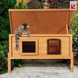 XL Microchip Outdoor Cat House External Cat Kennel One Way Privacy Window