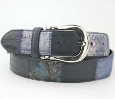 """Dark Blue Snake Skin Pattern Leather Belt Silver Buckle Size 95cm 36"""""""