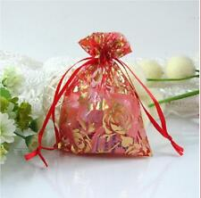 100 Rose Heart Coralline Style Organza Jewelry Pouch Wedding Party Gift Bags New