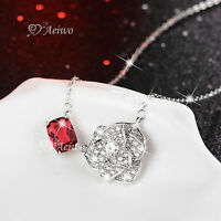 18K WHITE GOLD GF MADE WITH SWAROVSKI CRYSTAL ROSE RED PENDANT FLOWER NECKLACE