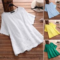 ZANZEA Womens Summer Short Sleeve O Neck T-Shirt Tops Casual Loose Blouse Shirts