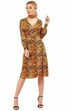 Ladies Dress Wrap Over Buttons V Neckline Womens Tiger Print Midi Animal Cuffs