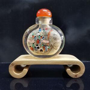Last One Painting Qingming Ancient Market Glass Snuff Bottle 5.5x 5 cm +box