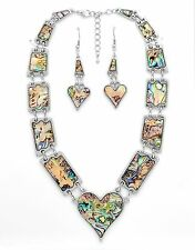 Queen of Hearts Natural Abalone Paua Silver Necklace Earring Set