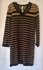 NY New York Collection Brown Black Striped Combo Sweater Dress Size L