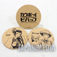 Cowboy Bebop Faye & Ed & Ein Cork Coaster set 20th Anniversary JAPAN