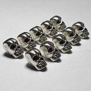 Perlen Großloch Großlochperlen Basteln Spacer Beads Metallperlen Paracord Skull