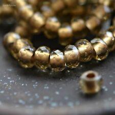 10 Fools Gold - Czech Glass, Smoky Quartz, Metallic Gold, Roller Beads 6x9mm