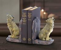 country howling lone WOLF pair lodge BOOKENDS book ends sculpture object statue