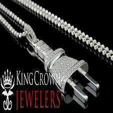 10K White Gold Over Silver Lab Diamond Pendant Socket Plug Fuse Charm Chain Set