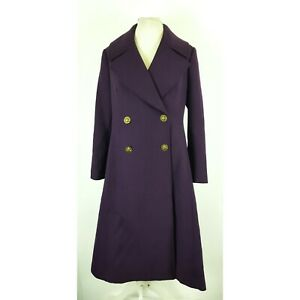 M&S Twiggy Ladies Military Trench Coat UK 14 Purple Double Breasted Wool Blend