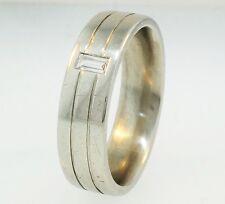 950 Platinum Emerald Cut Diamond(0.15ct) Wedding Band/Ring (Size R1/2) 6mm Width