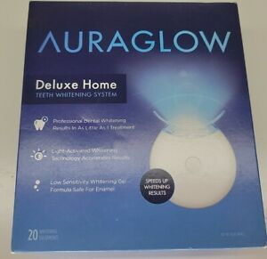 AuraGlow Deluxe Home Teeth Whitening System 20 Treatments Sealed New In The Box
