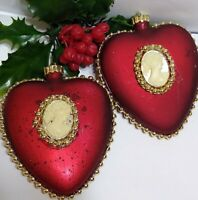 VTG Christmas Ornament HEART w/ Cameo burgundy Red Gold accent 2 SHATTERPROOF