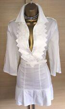 Exquisite Karen Millen White Military Belted Shirt Dress UK12