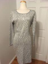 NWT Grey & Silver Leopard Print Knit Sweater Dress Karl Lagerfeld Paris Size XL