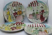Italian Hand Painted Cafe de Paris Plates set of 4