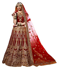 Bridal Party Bollywood Wedding Heavy Embroidery Velvet Designer Lehenga Choli