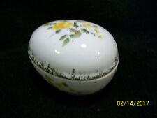 Vintage Yellow Roses Porcelain Egg Trinket Box made in Japan