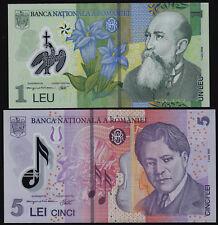 ROMANIA 1 LEU, 5 LEI (P117k, 118h) 2005 (2017) POLYMER SET OF 2 NOTES UNC