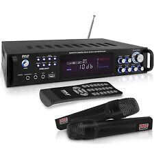 Pyle 3000W 4 Channel Bluetooth Hybrid Amplifier Receiver w/ Microphones & Remote