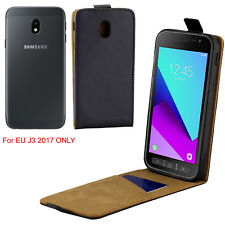 Women Men Premium Vertical Leather Skin Case Cover For Samsung Galaxy J3 2017