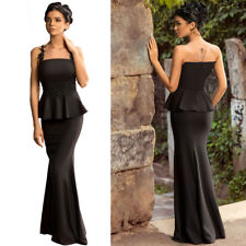 Floral Applique Mesh Insert Long Peplum Formal Prom Party Gown Evening Dress