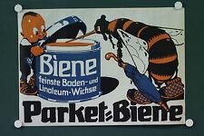 org. altes Plakat Parket Biene feine Boden und Linoleum Wichse Werbeplakat 1930