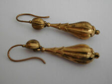 Victorian pinch-beck / rolled gold bomb pendant earrings