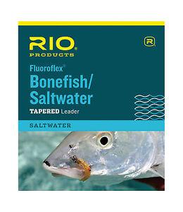 RIO FLUOROFLEX SALTWATER/ BONEFISH 9' FOOT 20 LB FLUOROCARBON FLY FISHING LEADER