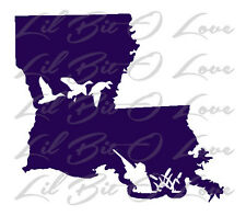 Louisiana State Silhouette with Ducks & Duck Hunter Vinyl Decal Sticker Hunting