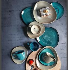 Kaffeeservice Service Steinzeug glasiert Braun Blau 12 tlg. Organische Form Neu