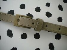 Grey Beige Suede Slim Belt Nubuck Stone Belt Brass Buckle Medium (S)