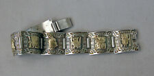 "Sterling Silver & 18K Gold Mayan God Bracelet Made in Peru 6 5/8"";M104"