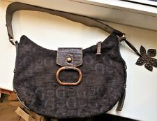GUESS Monogram Small Medium Chocolate Brown Beige Canvas Shoulder Bag Handbag