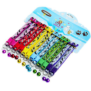 12PCS/Lot Small Dog Puppy Cat Collar W/Bell Necklace Gift Collars Wholesale