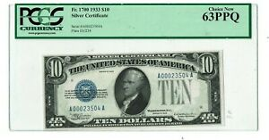 $10 1933 Silver Certificate Fr. 1700 PCGS Currency 63PPQ