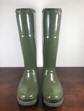 Women's Sorel Joan Rain Tall Gloss Waterproof Knee High Green Boots Size 8