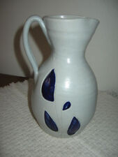 Blue & Grey Salt Glazed 22oz Pitcher or Floral Vase Williamsburg Pottery 7.25""