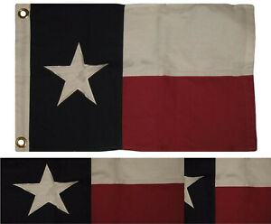 "16x24 Embroidered 100% Cotton Texas State Flag 16""x24"" Frame Size"