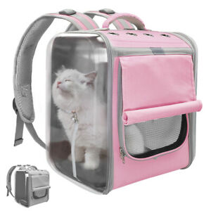 Pet Dog Cat Carrier Backpack Outdoor Travel Bag Large Mesh Crate for Hiking Bike