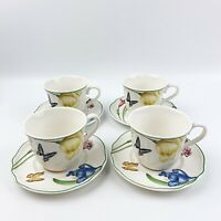 EPOCH Summer Meadow Set Of 4 CUP & SAUCER Floral Botanical Butterfly