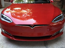 """2016 Updated Tesla Model S Nose Cone Front Emblem """"T"""" Decal Sticker - Matte Red"""