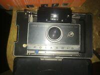 RARE Vintage Polaroid Land Automatic 100 Camera in Original Case w/ Flash NICE!