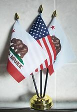 USA AND 2 X CALIFORNIA TABLE FLAG SET 3 flags plus GOLDEN BASE