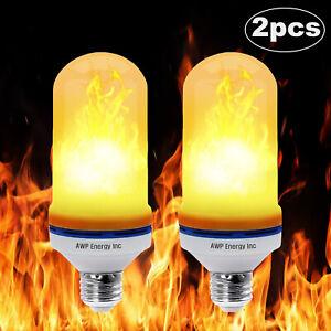 2pcs 108 LED Flame Fire Effect Light Bulbs 4 Modes Flicker Party E26/E27 Lamp