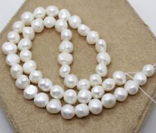 "9-10mm White Baroque Pearl Loose Beads Gemstone  15"" Long Strand"